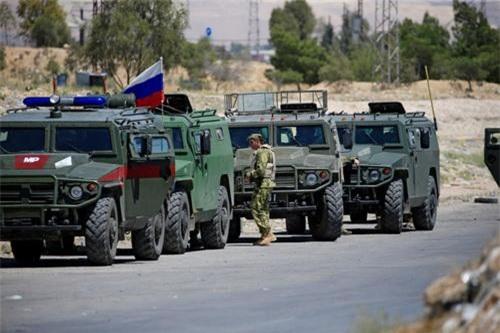 Các xe thiết giáp của Quân cảnh Nga được triển khai tại Syria. Ảnh: Ria Novosti.