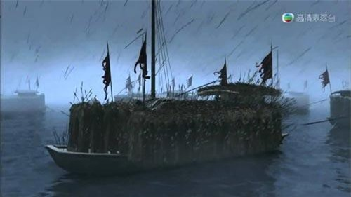 Thuyền cỏ của Gia Cát Lượng được tạo hình trong phim Tam Quốc diễn nghĩa 2010 (Ảnh: youtube.com)