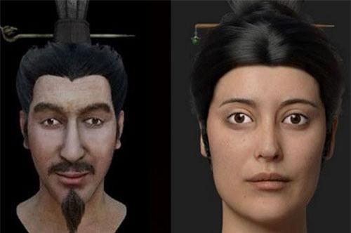 Phác họa khuôn mặt con trai và phi tần của Tần Thủy Hoàng.