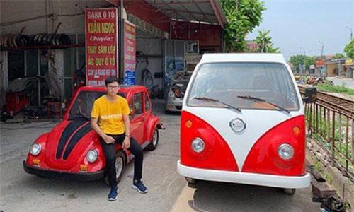 Em Ngô Việt Cường, học sinh lớp 12 tại Nam Định, đã lắp ráp thành công hai chiếc xe ô ô chạy điện sử dụng năng lượng mặt trời