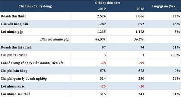 Số liệu kinh doanh 6 tháng đầu năm của VNG (Nguồn: Báo cáo tài chính hợp nhất bán niên 2019 đã soát xét)