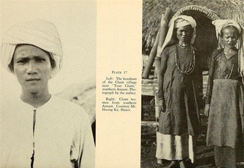 Ảnh trái: Một trưởng làng người Chăm ở khu vực Nam Trung Bộ. Ảnh phải: Hai phụ nữ lớn tuổi người dân tộc Chăm trong trang phục truyền thống.