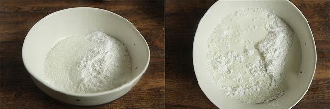 Đun sôi nước trong nồi hấp, đặt bát bột vào, dùng thì khuấy liên tục cho đến khi bột hơi sánh đặc lại thì đậy nắp nồi, hấp thêm khoảng 10 phút nữa là được.
