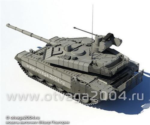 Đồ họa xe tăng chiến đấu chủ lực T-90M Proryv-3 được tích hợp pháo tự động 2A42 cỡ 30 mm. Ảnh: Otvaga 2004.