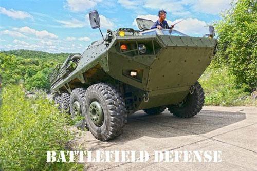 Theo Shephardmedia, Panus Assembly (công ty quốc phòng Thái Lan) vừa bắt đầu tiến hành thử nghiệm trên thực địa dòng xe thiết giáp R600 8x8 bánh được phát triển cho Quân đội Thái Lan. Ảnh: Battefield Defense