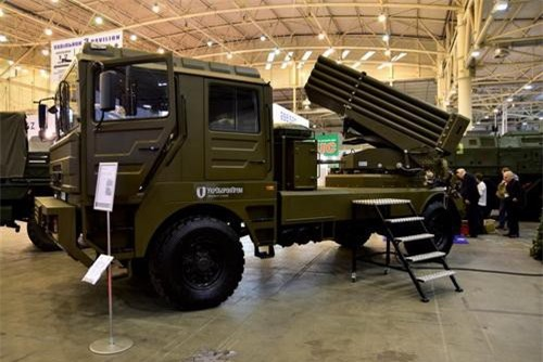 Hệ thống pháo phản lực phóng loạt BM-21UM Berest do Ukraine chế tạo. Ảnh: Defence Blog.