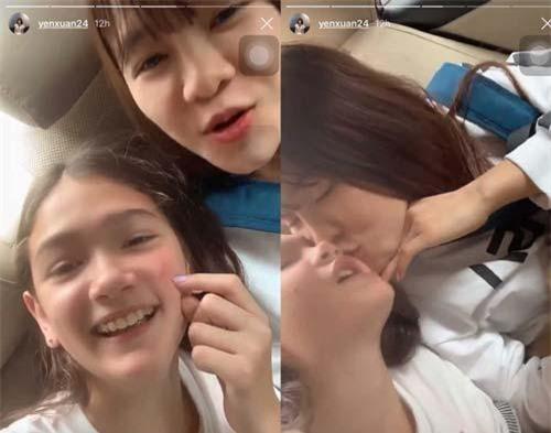 Yến Xuân ôm hôn em gái Đặng Văn Lâm, cho thấy tình cảm thân thiết giữa hai người.