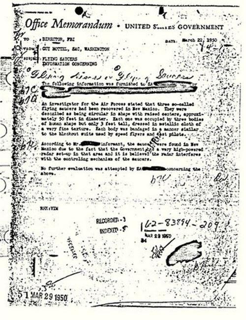 Tài liệu mật về UFO do Guy Hotel viết gửi cho giám đốc FBI J Edgar Hoover.