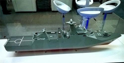 Mô hình khinh hạm SIGMA 9814 được Tập đoàn đóng tàu Damen của Hà Lan giới thiệu tại Triển lãm Vietship 2014. Ảnh: Tiền Phong.