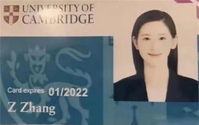 Thẻ sinh viên Đại học Cambridge của Chương Trạch Thiên có hiệu lực đến năm 2022. Ảnh: Weibo.