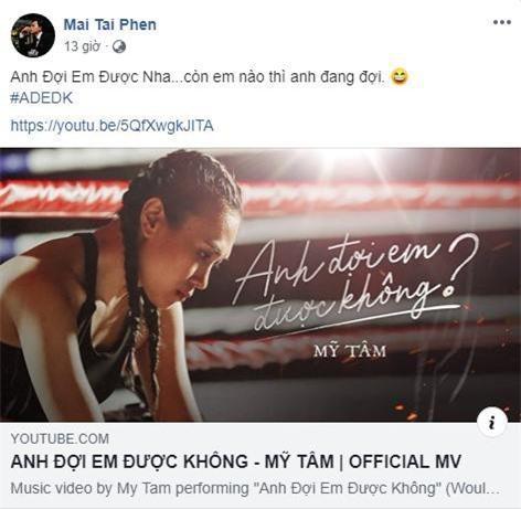 """Mai Tài Phến công khai ủng hộ Mỹ Tâm cực tình cảm sau khi MV """"Anh đợi em được không"""" vừa ra mắt."""