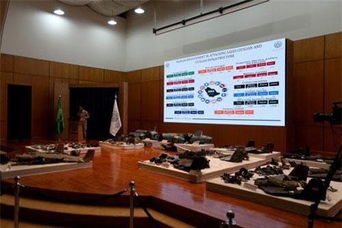 Bộ Quốc phòng Saudi Arabia tổ chức họp báo tại thủ đô Riyadh hôm 18/9, trưng bày nhiều mảnh vỡ tên lửa và máy bay không người lái làm bằng chứng khẳng định Iran đứng đằng sau vụ tấn công hai cơ sở dầu trọng yếu ngày 14/9.