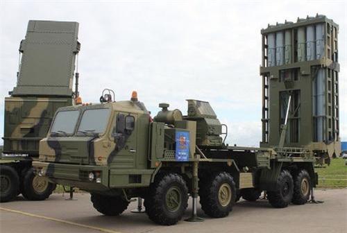 Xe radar 50N6 và xe bệ mang phóng tự hành 50P6 của tổ hợp tên lửa phòng không tầm trung - xa S-350 Vityaz. Ảnh: Military Today.