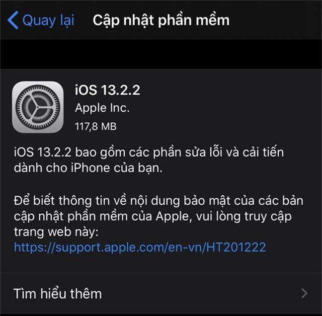 Apple ra mắt bản cập nhật iOS 13.2.2 cho iPhone - Ảnh 2.
