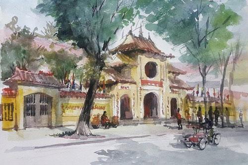 Một tác phẩm của nhóm Ký họa Hà Nội trưng bày tại triển lãm.