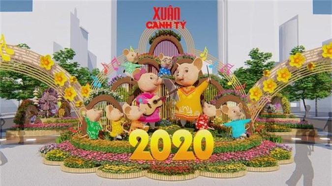 Nhiều tạo hình độc đáo ở đường hoa Nguyễn Huệ Tết Canh Tý 2020 - Ảnh 1.