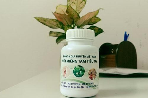 Thuốc đông y gia truyền đặc trị hôi miệng tam tiêu OV được bày bán tại Công ty cổ phần đầu tư phát triển dịch vụ DDT Việt Nam không có hoá đơn chứng từ chứng minh nguồn gốc hợp pháp