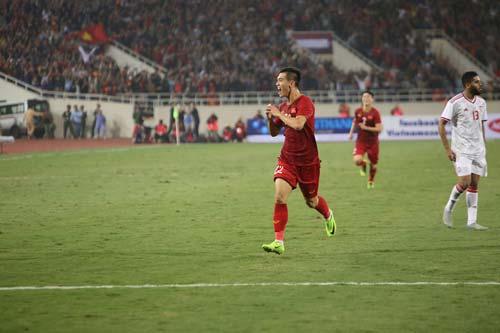 Tiến Linh ghi bàn thắng duy nhất giúp Việt Nam đánh bại UAE. Ảnh: Lê Thành.