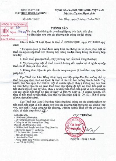 Lâm Đồng: Địa ốc Trung Nam Đà Lạt dẫn đầu danh sách chây ì nợ thuế