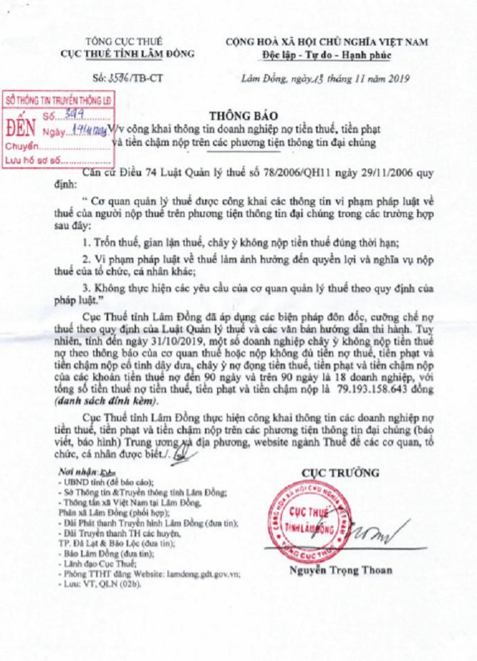 Thông báo công khai danh sách chây ỳ nợ thuế của Cục thuế tỉnh Lâm Đồng (Ảnh: VH)