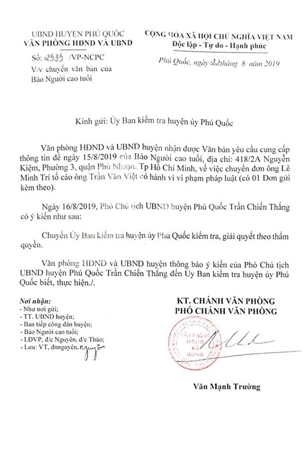 Phó Chủ tịch UBND huyện Phú Quốc giao việc cho Ủy ban Kiểm tra Huyện ủy...