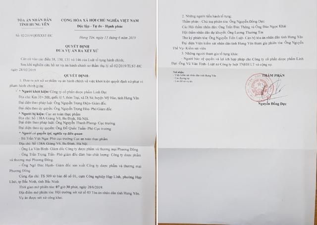 Quyết định đưa vụ án ra xét xử của Tòa án ND tỉnh Hưng Yên.