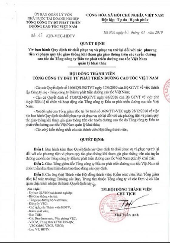 Tổng cục Đường bộ Việt Nam cần thu hồi ngay QĐ số 13 so ông Mai Tuấn Anh ký