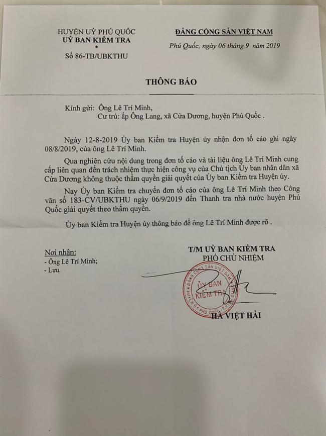 """... Thế nhưng sau 15 ngày """"ngâm cứu"""", Ủy ban Kiểm tra Huyện ủy tự ý """"chuyền bóng"""" sang cho Thanh tra Nhà nước huyện Phú Quốc."""