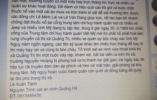 Sau khi đăng tút, thấy không ai bóc mẽ ông Tánh liền đưa tút Facebook này lên trang web của thị xã Quảng Trị.