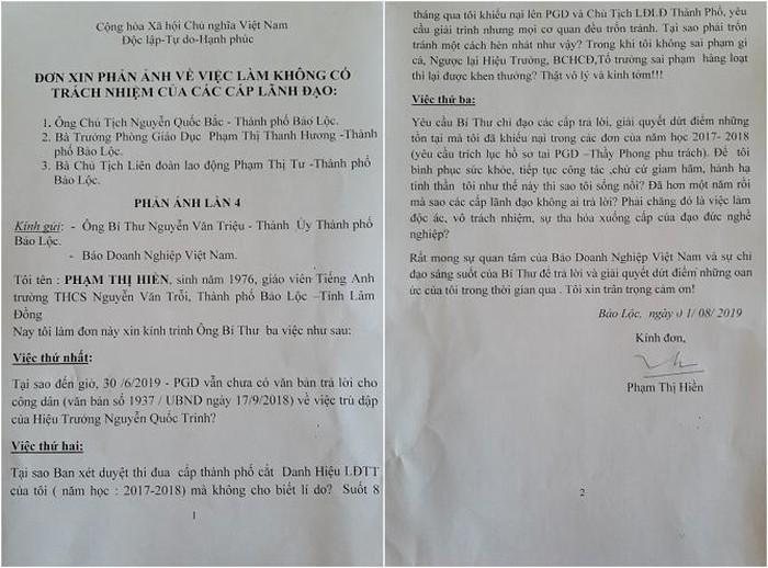 Một trong số những đơn phản ánh của giáo viên Phạm Thị Hiền gửi đến Doanh nghiệp Việt Nam (Ảnh: VH)