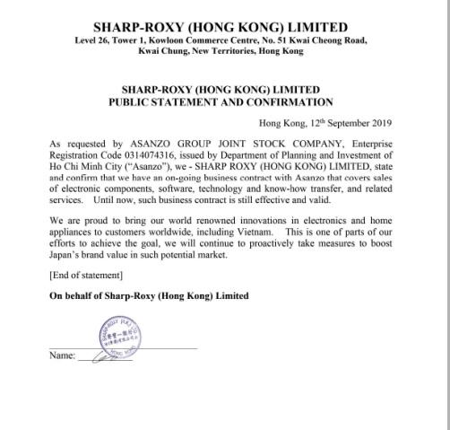 Sharp xác nhận có hợp đồng kinh tế với Asanzo vẫn còn hiệu lực.