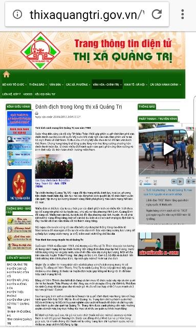 """Bài viết mô tả """"chiến công kinh thiên động địa"""" của ông Lê Xuân Tánh trên web của UBND thị xã Quảng Trị."""