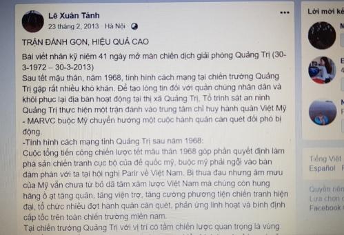 Tút Facebook của ông Tánh tự kể về chiến công đánh Trung tâm chỉ huy tác chiến Việt - Mỹ ngày 30/3/1969.