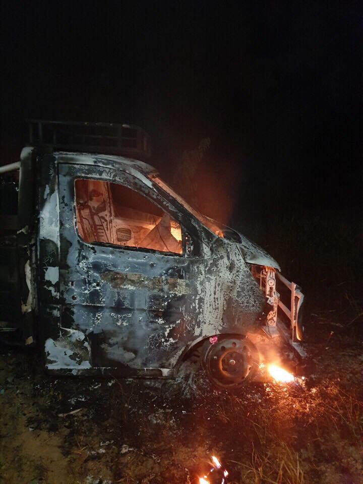 Xe ôtô tải BKS 29H-158.26 của ông Dương Quốc Năng bị phát hiện đốt cháy lúc 1h sáng ngày 28/4/2019.