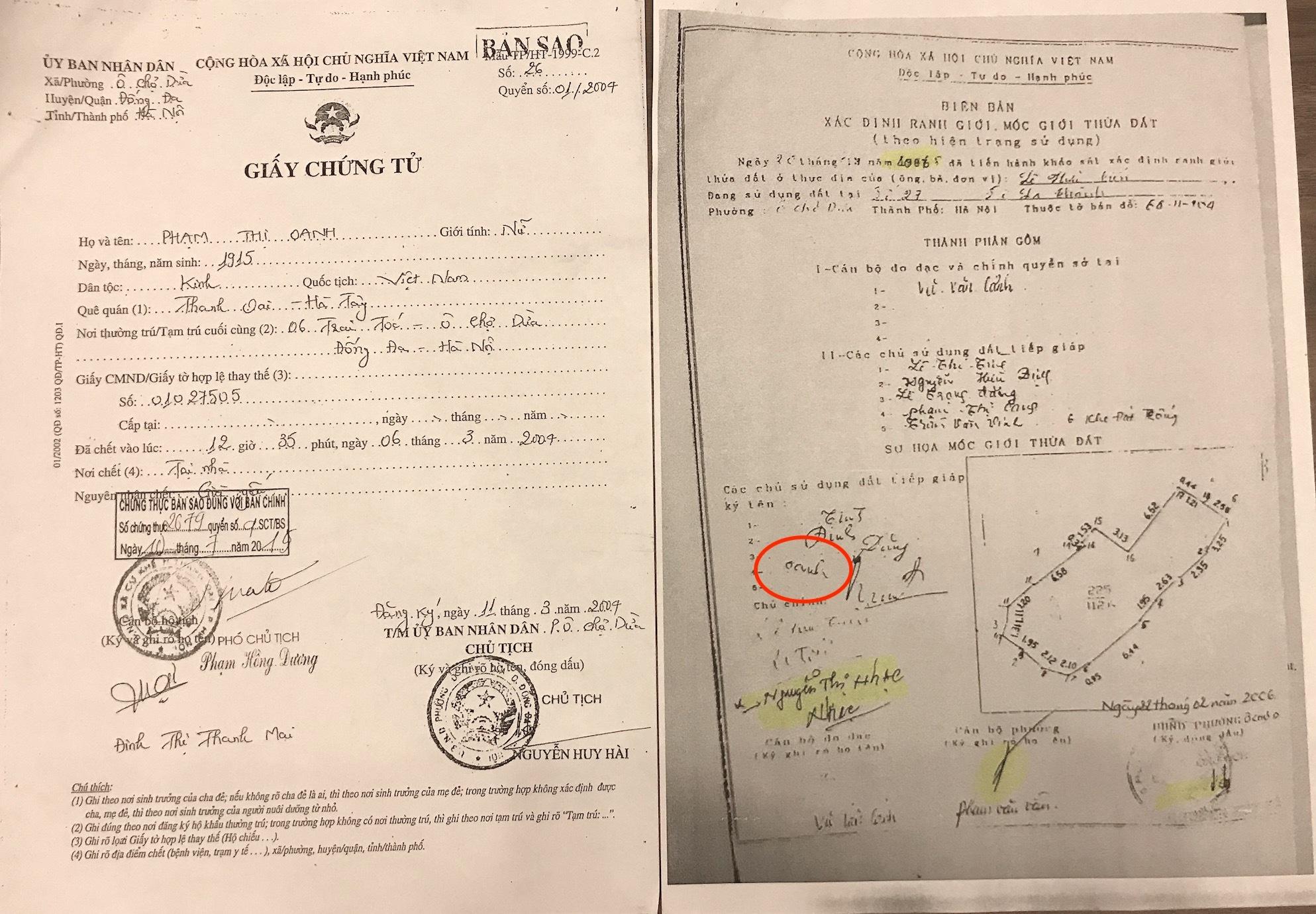 Bà Phạm Thị Oanh đã mất từ năm 2004 vẫn có chữ ký trong Biên bản xác định ranh giới, mốc giới thửa đất lập năm 2006 để làm cơ sở cho UBND quận Đống Đa cấp sổ đỏ tại số 27A Đê La Thành (Phần chữ ký bà Oanh được khoanh tròn màu đỏ ).