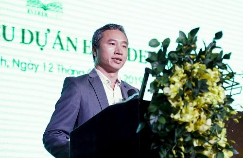Ông Trần Hoàng Ân - Phó Tổng giám đốc Công ty Tân Tạo phát biểu tại lễ giới thiệu dự án Everde City (Ảnh: NK)