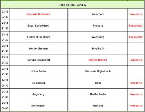 Lịch phát sóng Bundesliga. Ảnh: 24h