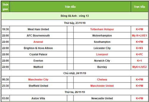 Lịch phát sóng Premier League. Ảnh: 24h
