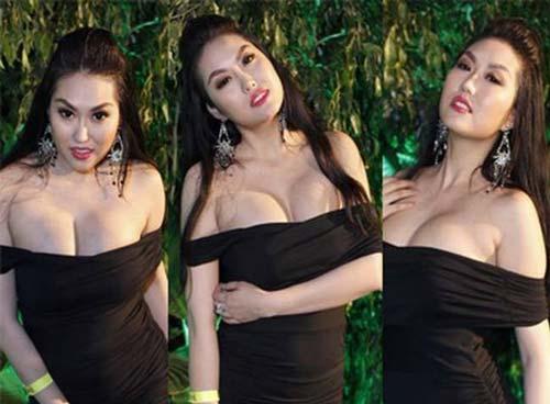 Phi Thanh Vân là một trong những mỹ nhân sở hữu vòng 1 khủng sau khi nâng cấp nên cô tự tin phô diễn qua những mẫu váy áo trễ ngực cực sâu.