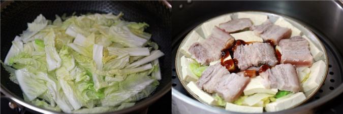 Thịt hấp đậu phụ rau cải - Ảnh 3.