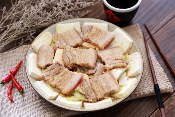 Thịt hấp đậu phụ rau cải - Ảnh 4.