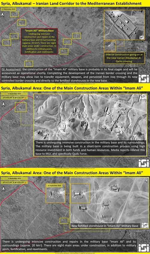 Những bức ảnh vệ tinh chụp tại địa điểm mà Công ty ISI gọi là căn cứ Imam Ali của Iran trên đất Syria