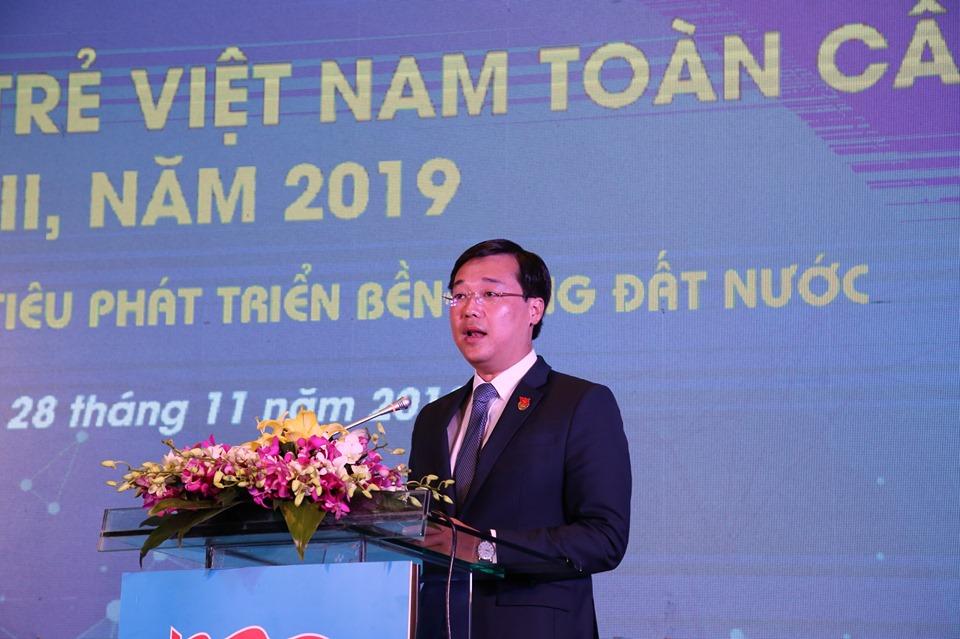 Anh Lê Quốc Phong, Ủy viên dự khuyết Trung ương Đảng, Bí thư thứ nhất Trung ương Đoàn, Chủ tịch Trung ương Hội LHTN Việt Nam phát biểu tại diễn đàn.