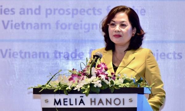 Phó Thống đốc Ngân hàng Nhà nước Nguyễn Thị Hồng phát biểu tại Diễn đàn IBEC tại Hà Nội.
