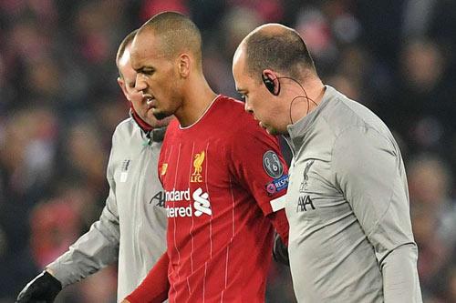 Tiền vệ Fabinho bị chấn thương.