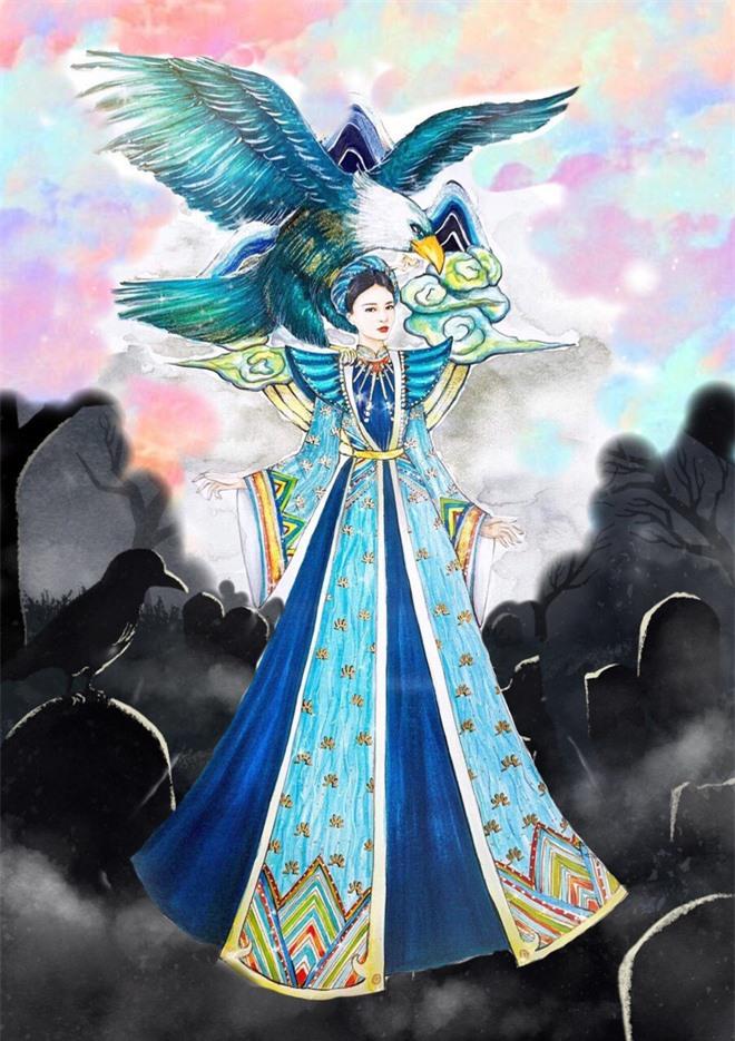 Á hậu Thúy An mang cả đại bàng lớn đang sải cánh vào Quốc phục chinh chiến Miss Intercontinental 2019 - Ảnh 1.