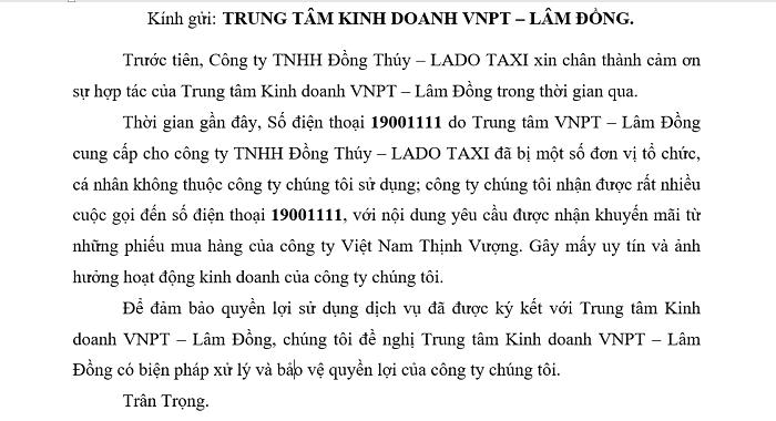 Công văn của Taxi Lado gửi ngành chức năng (Ảnh: VH)