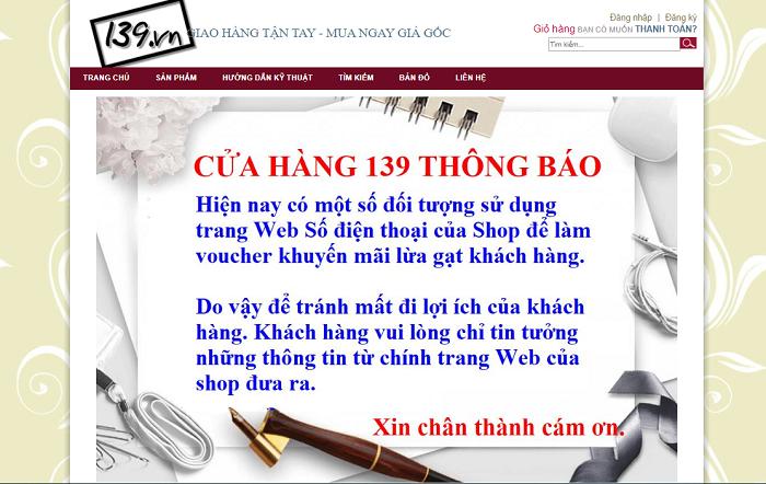 Thông báo của trang 139.vn (Ảnh: VH)