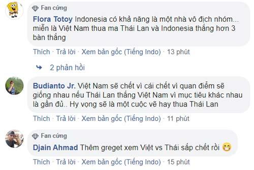 Đa phần CĐV Indonesia mong Việt Nam thua Thái Lan và bị loại. Ảnh chụp màn hình.