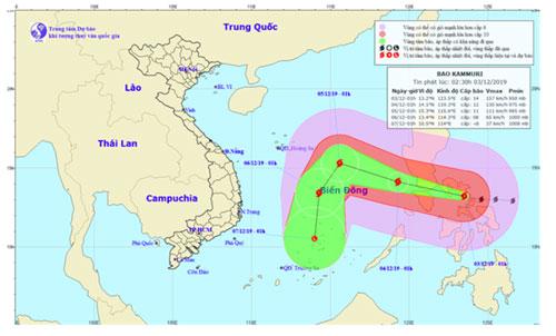 Hướng di chuyển của bão Kammuri gần Biển Đông. Ảnh: TT DBKTTV QG